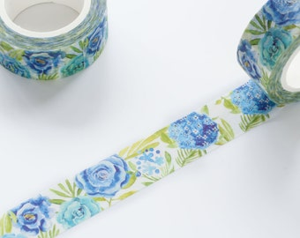 Hydrangea and Blue Rose Floral Washi Tape 15mm/ Tea Rose Washi Tape/ Masking Tape/ Birthday Wedding Party Washi Tape Cute Packaging