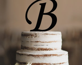 Personalized Monogram Initial Wedding Cake Toppers -Letter B, Custom Monogram Cake Toppers, Traditional Initial Toppers-(T285)