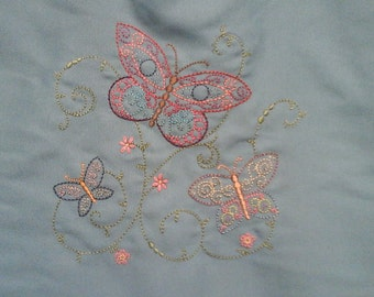 embroidered butterfly tote