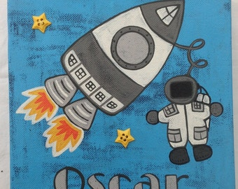 Hand painted spaceman name canvas 'OSCAR'
