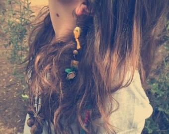 Turquoise earring, tribal earring, gypsy earring, single earring, boho earring, long earring, tribal symbol earring, beaded aztec earring
