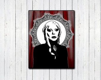 """Lady Gaga American Horror Story 11x14"""" Print, The Countess AHS, Red Lace Print, Horror TV Shows"""