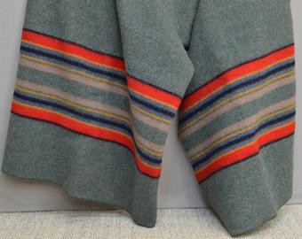 "Large Pendleton Yakima Camp Wool Blanket, 82"" x 66"", Striped Blanket, Olive Green, Red, Yellow, Blue, Black Stripes"