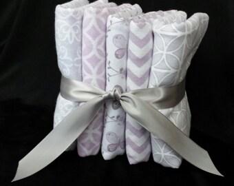 Burp Cloths - Set of 5 or Set of 3 - baby boy or baby girl