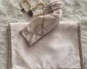 Bag & clutch pearled , Handmade clutch, Fold over clutch, Clutch evening, Day bag clutch, Pearled clutch handbag