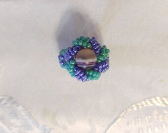 Purple Sphere Beaded Ring