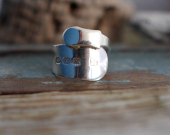 Upcycled silver spoon ring, handmade silver ring, chunky silver ring, size v ring