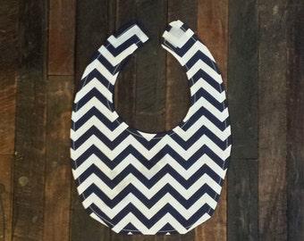 Navy Blue and White Chevron Bib-Handmade
