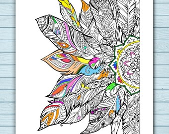 Printable Mandala Feathers Coloring Page