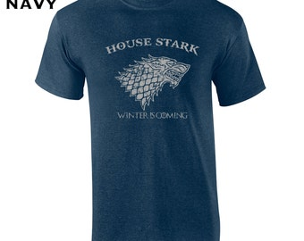 House Stark funny fantasy dire wolf game king thrones winter college party vintage retro - Apparel Clothing - Mens T-shirt - 085