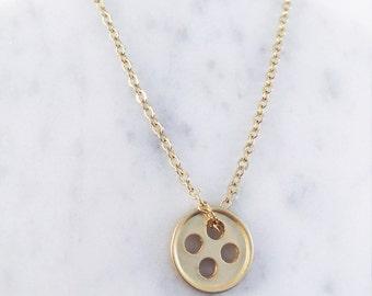 Gold Plated Button Necklace; minimalist necklace, gold necklace, button accessory