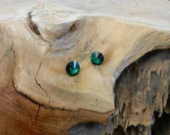 Earrings, dark green Crystal beads!