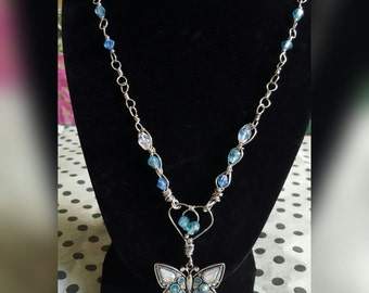 Crystals and Butterfly Necklace