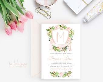 Printable Bridal Shower Invitation / Monogram, Succulent Invite, Wedding Shower  - Monica Rose