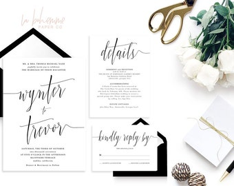 Printable Wedding Invitation Suite / Calligraphy / Wedding Invite Set - The Wynter Suite