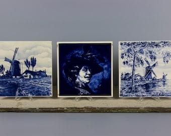 Vintage Delft Blue and White Set of Eight Ceramic Tiles, c1950s