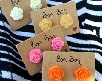 Rose stud earrings - pink/orange/cream