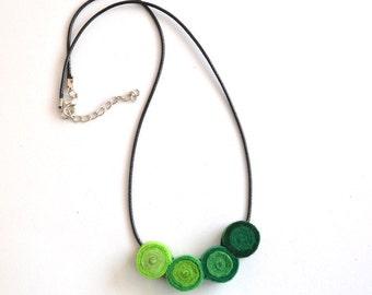 Pendant necklace handmade felt green spirals