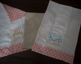 Fully Lined Baby Girl Burp Cloth Set
