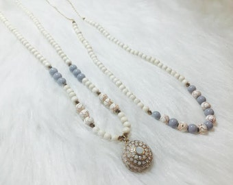 Handmade necklaces with lavender accents