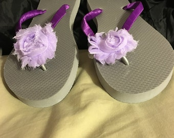Purple-Silver flower Flip flops