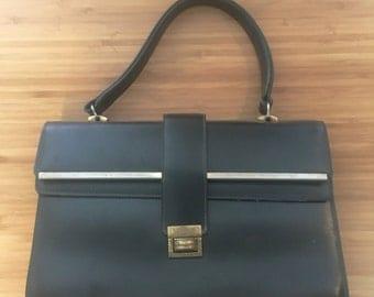 1960s Vintage Black top handle bag