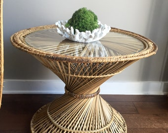 Vintage Rattan Hourglass Side / Coffee / End Table
