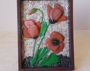 Poppies. Picture of stones and shells, unique handmade art of stones, flowers, gift, birthday gift, decoration