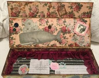 Antique/vintage style, magnetic, keepsake box.