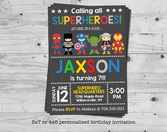 Superhero birthday invitation - personalized with your child's name - digital / printable
