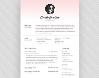 "Resume Template / CV Template + Cover Letter for MS Word and Photoshop | Instant Digital Download - ""Dawn"""