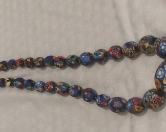 Millefiori Beads Hand Knotted and Graduated Sizes