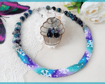 Birthday gift for Woman beaded necklace Multicolor gemstone necklace Blue beaded earrings women Statement crochet necklace Fluorite jewelry