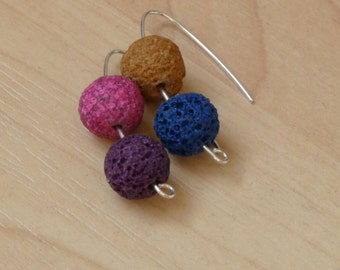 Silver earrings with volcanic stones.