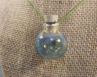 Clear Bottle Necklace with Silver Fuming