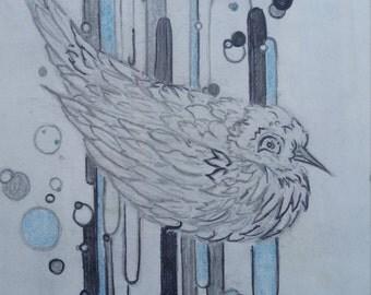 Contemporary Blue Dove Sketch