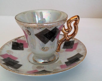4 Vintage Tea Cups and Saucers, Made in Japan, 1950's, Geometric Pattern Tea Cup Set - Item #1019