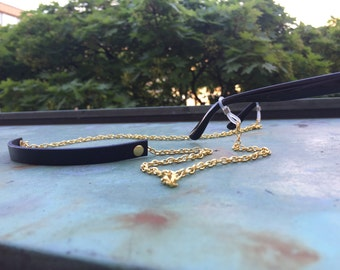 Eyeglass chain / sunglass strap with Gold or Silver chain and Leather