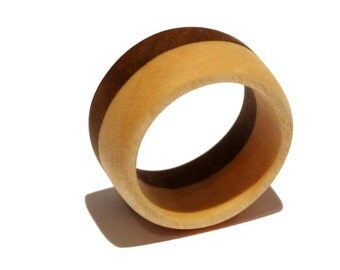 """Latte"", jewel colored wooden ring"