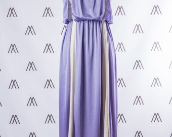 1970s White and Purple Layered Midi Sundress with Tie Straps