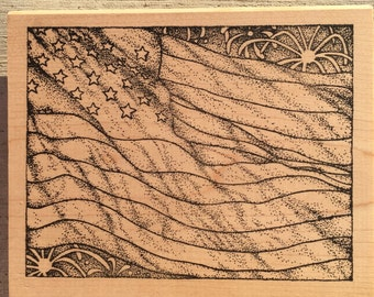 Four of July, American Flag Wood Mounted Rubber Stamp