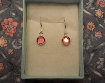 Pink Swarovski crystal silver plated earrings-free shipping.