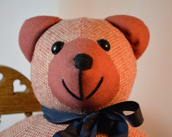Vintage Handcrafted, Teddy Bear, Wool, Cloth Bear,
