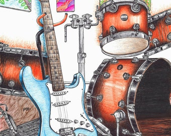 Band instrument set-up ball point pen drawing