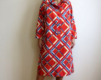 Vintage 1980s Hot Red Dress White Blue Diagonal Plaid Dress A Line Dress Cotton Dress Long Sleeves Midi Shirtdress Extra Large Size