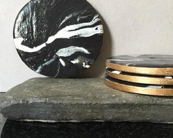 Black Marble Coaster (Set of 4)