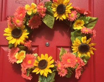 Sunflower & coral daisy wreath