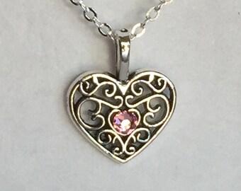 Heart Charm Necklace with Swarovski crystal