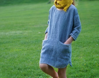 Long sleeve blue linen summer dress with pockets and buttons for girls, handmade, high quality, made in Europe, melange linen, light
