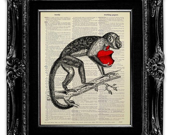 Red APPLE Art, Apple Print, MONKEY Art, Monkey Print, DICTIONARY Art Print, Dictionary Print, Apple Poster, Monkey Poster Artwork - iMonkey